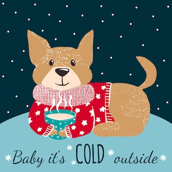 Cartão de inverno com cachorro fofo.