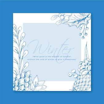 Cartão de inverno com flocos de neve