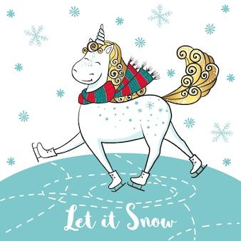 Cartão de inverno com unicórnio fofo em patins.