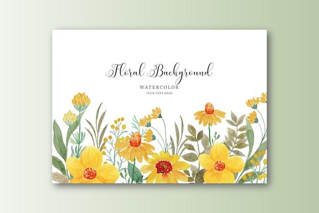 Cartão de jardim de flores amarelas com aquarela