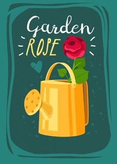 Cartão de jardinagem dos desenhos animados