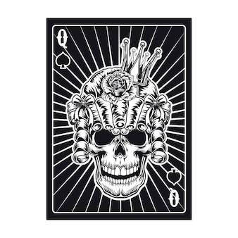 Cartão de jogo com caveira de rainha na peruca. espadas