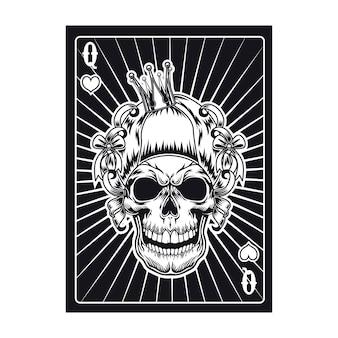 Cartão de jogo com crânio agressivo de rainha. corações