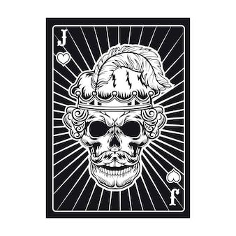 Cartão de jogo com o crânio de jack zangado. corações, penas