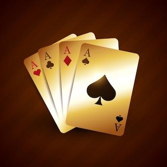 Cartão de jogo de casino dourado com design vetorial de quatro ás