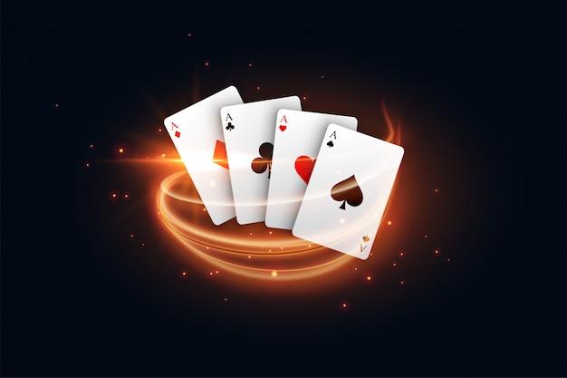 Cartão de jogo de cassino com raia de luz dourada