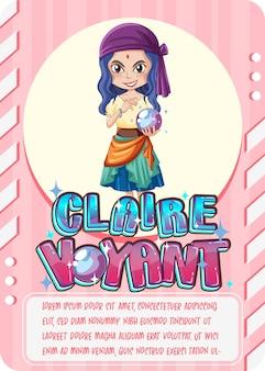 Cartão de jogo de personagem com a palavra claire voyant