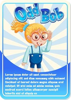 Cartão de jogo de personagem com a palavra odd bob