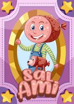 Cartão de jogo de personagem com a palavra salami