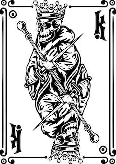 Cartão de jogo do rei skeleteon