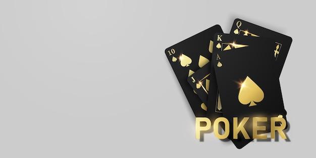 Cartão de jogo. fichas de casino vencedoras de mãos de póquer