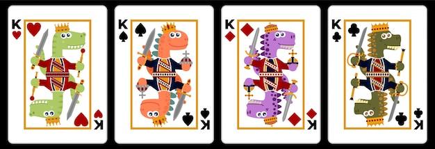Cartão de jogo original dos reis do dinossauro. estilo dos desenhos animados. ilustração. estilo design plano.
