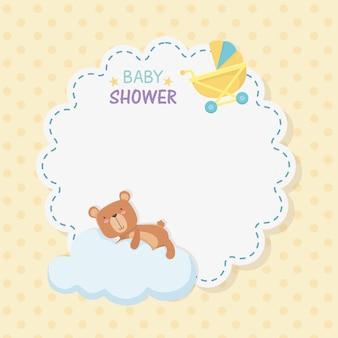 Cartão de laço de chuveiro de bebê com ursinho de pelúcia