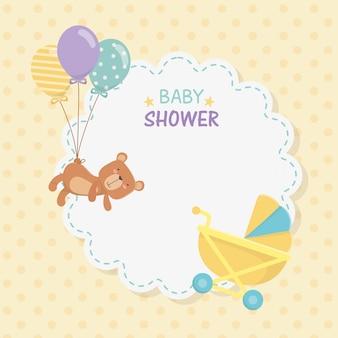 Cartão de laço de chuveiro de bebê com ursinho ursinho e balões de hélio