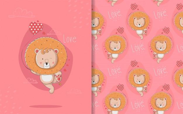 Cartão de leão bonito dos desenhos animados e padrão sem emenda para crianças