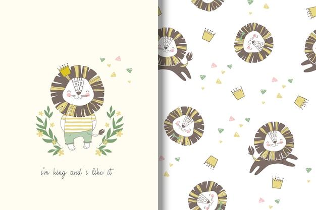 Cartão de leão dos desenhos animados e padrão sem emenda