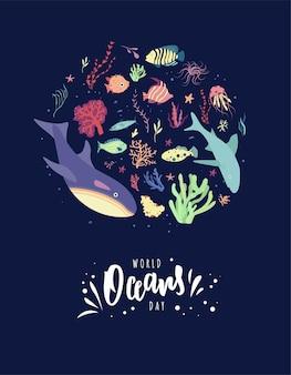 Cartão de letras à mão para o dia mundial dos oceanos