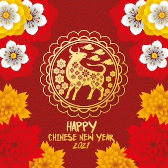 Cartão de letras de ano novo chinês com ilustração de boi dourado e flores
