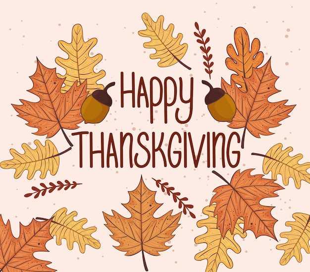 Cartão de letras de celebração de ação de graças feliz com design de ilustração de outono de folhas