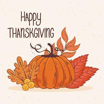 Cartão de letras de celebração de ação de graças feliz com folhas e desenho de ilustração de abóbora