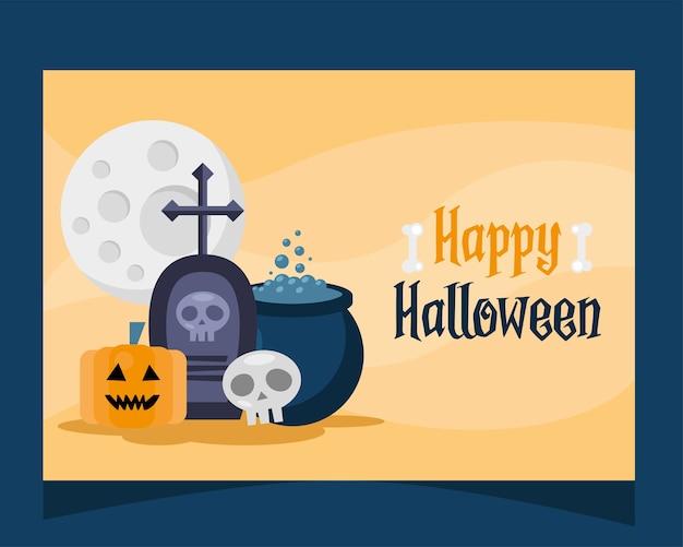 Cartão de letras de feliz dia das bruxas com desenho de ilustração vetorial de túmulo e caldeirão