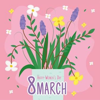Cartão de letras de feliz dia das mulheres com flores em vaso de cerâmica.