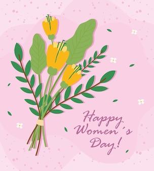 Cartão de letras de feliz dia das mulheres com ilustração de buquê de flores