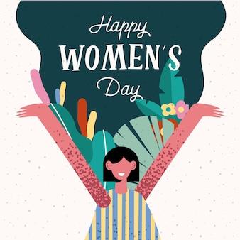 Cartão de letras de feliz dia das mulheres com ilustração de mulher feliz e flores