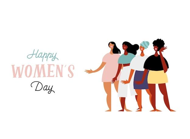 Cartão de letras de feliz dia das mulheres com ilustração de personagens de grupo de meninas