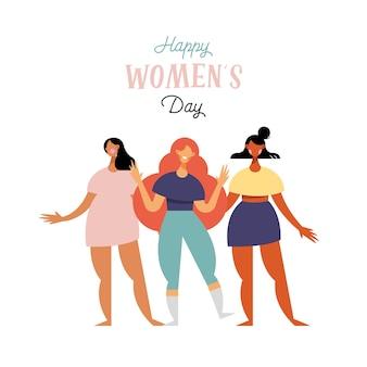 Cartão de letras de feliz dia das mulheres com ilustração de personagens de meninas de diversidade
