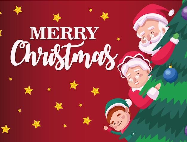 Cartão de letras de feliz natal com a família do papai noel e um duende na ilustração de um pinheiro
