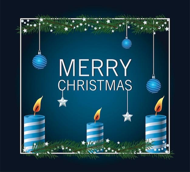 Cartão de letras de feliz natal com bolas penduradas e ilustração de velas