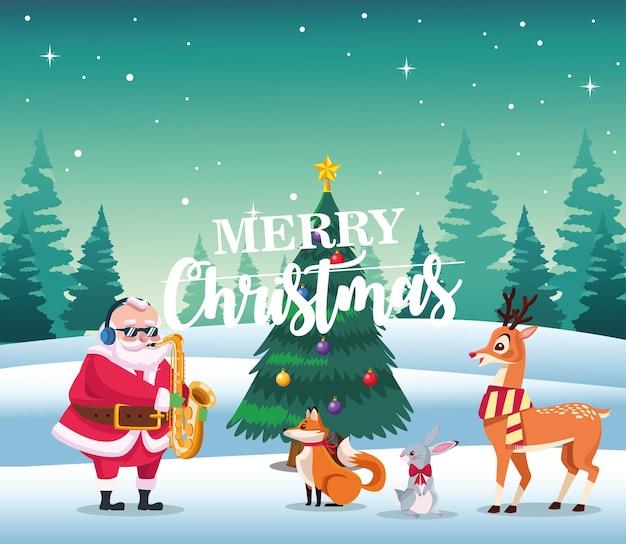 Cartão de letras de feliz natal com papai noel tocando saxo e ilustração de animais