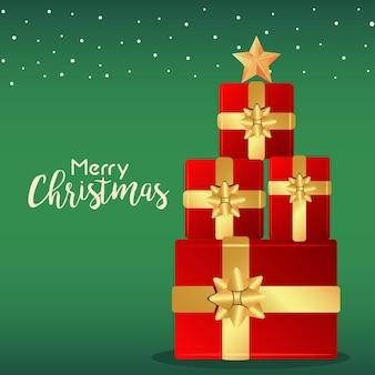 Cartão de letras de feliz natal e feliz ano novo com ilustração da árvore de presentes