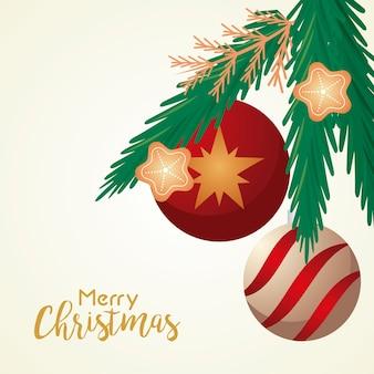 Cartão de letras de feliz natal feliz com bolas e estrelas na ilustração de folhas de pinheiro