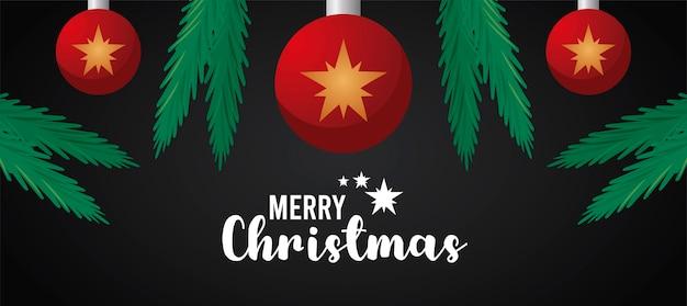 Cartão de letras de feliz natal feliz com estrelas na ilustração de bolas e folhas