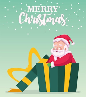 Cartão de letras de feliz natal feliz com o papai noel em ilustração de presente
