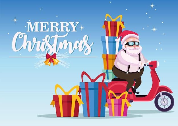 Cartão de letras de feliz natal feliz com o papai noel na ilustração de motocicleta e presentes