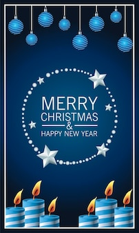 Cartão de letras de feliz natal feliz com velas e bolas penduradas ilustração