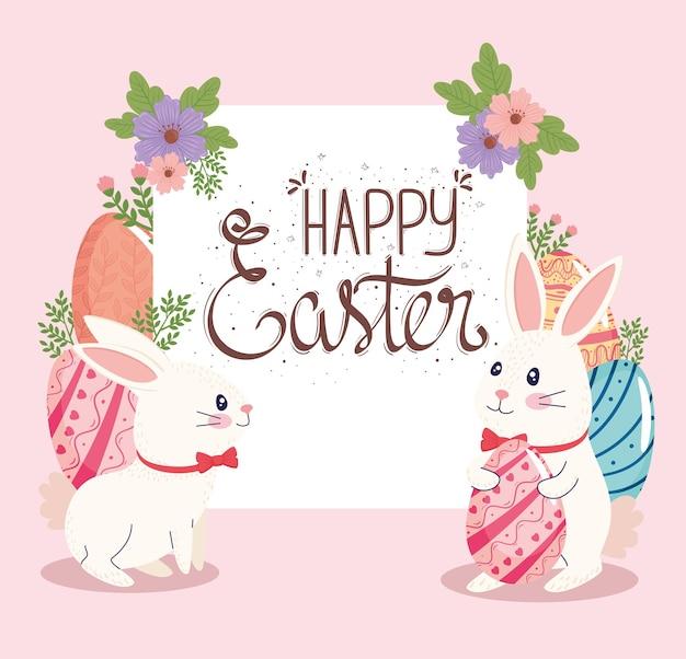 Cartão de letras de feliz páscoa com ilustração