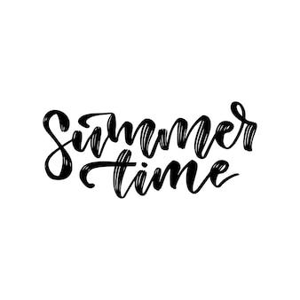 Cartão de letras de mão desenhada para horário de verão