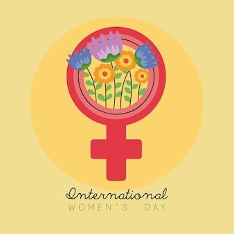Cartão de letras do dia internacional da mulher com flores em ilustração de símbolo de gênero feminino.
