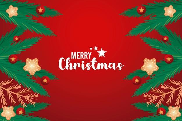 Cartão de letras feliz natal com galhos de pinheiro e ilustração de estrelas