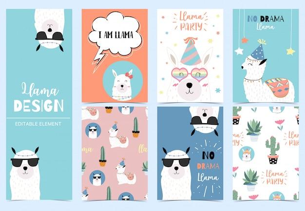 Cartão de lhama fofo para criança