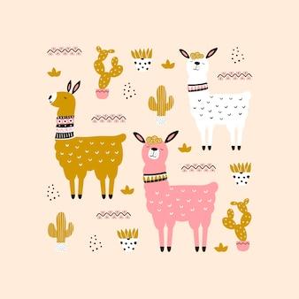 Cartão de lhama rosa