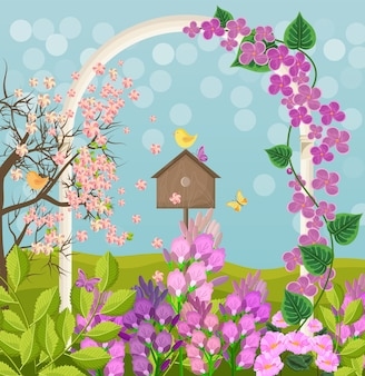 Cartão de linda primavera com casa de pássaro