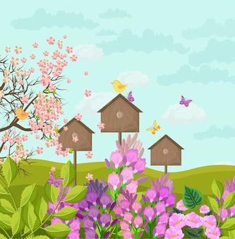 Cartão de linda primavera com casas de pássaros
