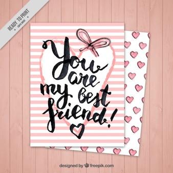Cartão de listras cor de rosa do dia da amizade