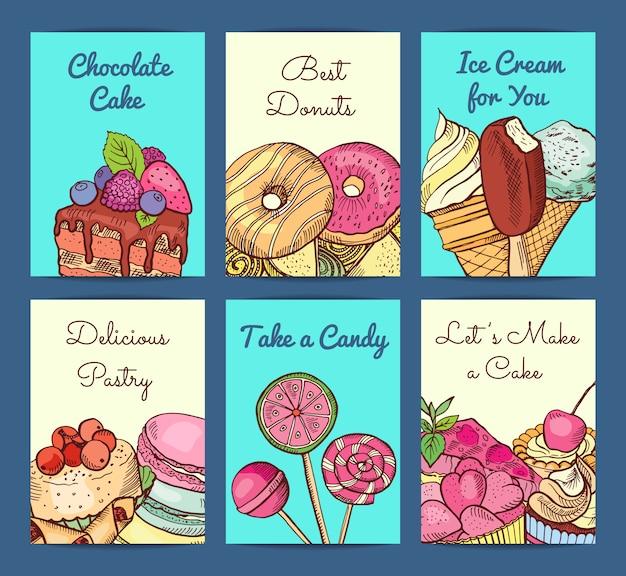 Cartão de loja de doces coloridos mão desenhada