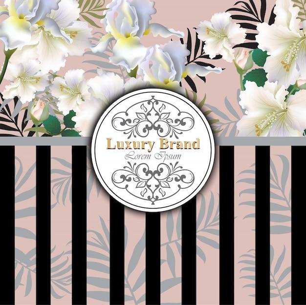 Cartão de luxo com flores de lírio vector. ilustração bonita para livro de marca, cartão de visita ou cartaz. fundo rosa. lugar para textos